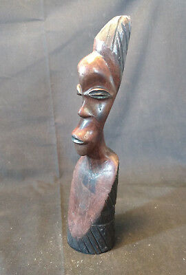 Collectible Wood Hand Carved Man Head Face African Africa Statue Figure