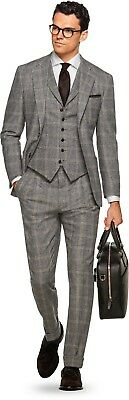 NWT Suitsupply JORT Brown Check 100% Wool Suit - Size 38R ***NO VEST*** $1099 NP
