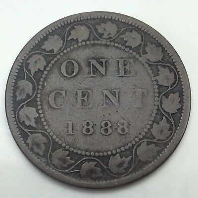 1888 Canada Copper 1 One Large Cent Penny Circulated Canadian Coin D344
