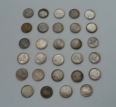 Lot To 29 Silver Canadian Quarters Lqqk!!!