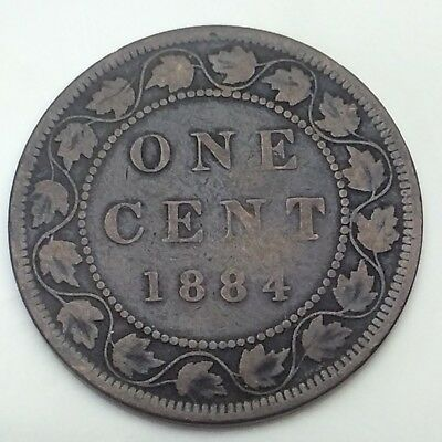 1884 Canada Copper 1 One Large Cent Penny Circulated Canadian Coin D345