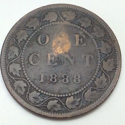 1888 Canada Copper 1 One Large Cent Penny Circulated Canadian Coin D346