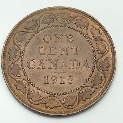1918 Canada Copper 1 One Large Cent Penny Circulated Canadian Coin D349