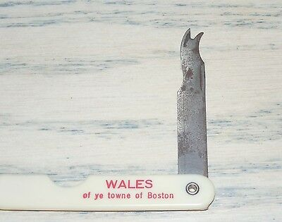WALES of Ye Towne of Boston POCKET KNIFE Advertisement HOOK BLADE Vintage