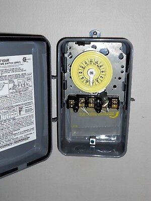 Intermatic T104R 120-277-Volt DPST 24 Hour Mechanical Time Switch ~ Outdoor Case