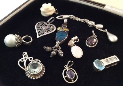 Vintage Jewellery Super Collection Of 10 Sterling Silver Pendants Job Lot