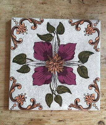 Victorian Replica Fireplace Tiles X 10 Red Flower/Floral Print