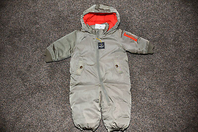 6c66b6358 RARE BABY MONCLER Down Logo Overall Jumpsuit Jacket Real Fox Fur 3-6 ...