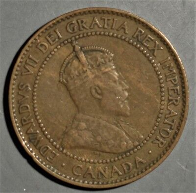 CANADIAN 1908 Large Cent 1C  Bronze Coin King Edward VII  KM8 Grade XF A4468
