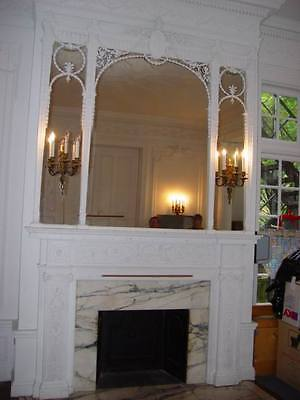 Fireplace Surround Mantel Fluted Columns Wall Panels Full Mansion Room Adams Sty