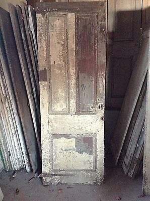 ANTIQUE DOOR NEW ENGLAND 18th CENTURY INTERIOR 3 RAISED PANEL ORIGINAL HINGES