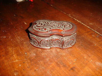 An Early ,american Colonial Period, Hand Carved Cherry Wood Ladies Trinket Box