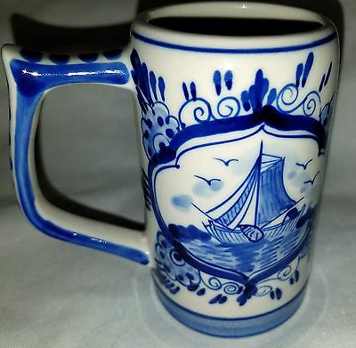 Delfts Blue 646 EH Handled Mug Cup Ship Windmill Collectible 10 oz Hand Painted