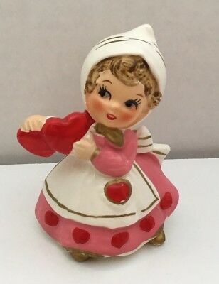 Vintage Lefton Valentine Girl With Hearts Figurine Valentines Day #7173 Mint