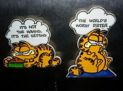 Lot of 2 Plastic Vintage 1978 Garfield Magnets by Kat's Meow WORLDS WORST DIETER