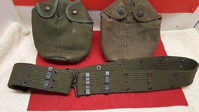 Vintage WW2 US Army or Marines Canteen Holders and Web Belt