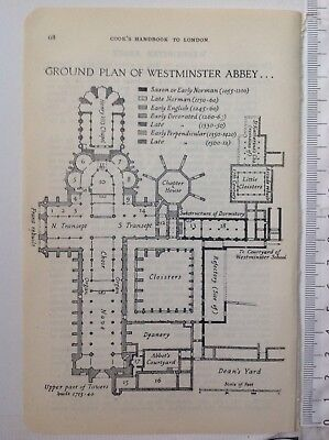Ground Plan Of Westminster Abbey, 1930 Vintage Map,  Original