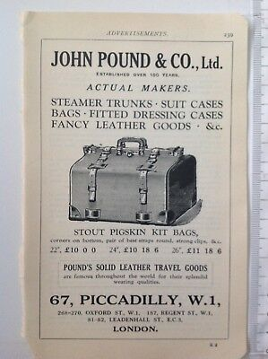 John Pound & Co., Ltd, Suitcases, London,  1930 Vintage Advert, Original