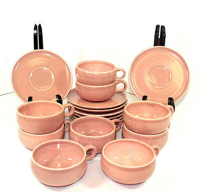 Set of 8 American Modern Coral by Russel Wright Cup & Saucer Sets