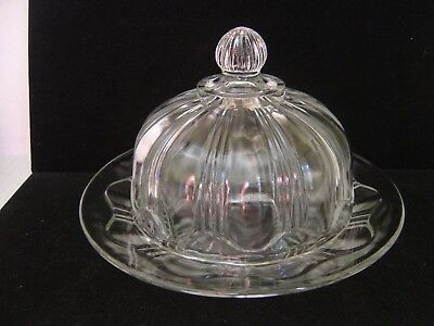 "Vintage Clear Glass Round Dome Butter Dish Or Cheese Dish 7-1/8"" Dia."