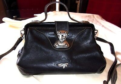 Vintage Gil Holsters Heavy Leather Silver Metal Hardware Doctor Style Purse