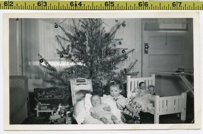 Vintage 1940's photo / CHRISTMAS Morning - Girl w New Brother, Evil DOLLS in Bed