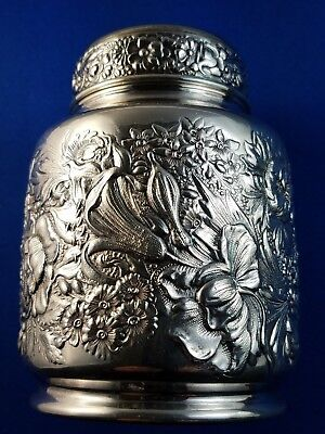 Antique Gorham Sterling Silver Fancy Floral Tea Caddy Roses Lilies 1892