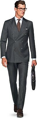 NWT Suitsupply MADISON Dark Gray Pinstripe 100% Wool S130s DB Suit - Size 42R