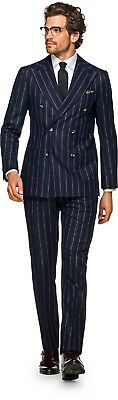 NWT Suitsupply HAVANA Pleated Navy Pinstripe Wool DB Suit - Size 48R *SOLD OUT*