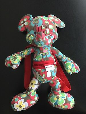 RARE! Disneyland Mickey Mouse Plush With Red Backpack Straps