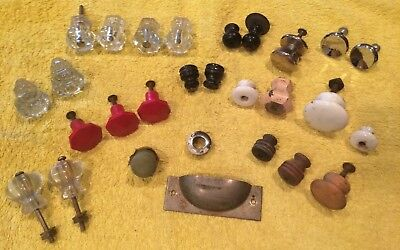 28 Assorted Vintage Glass/Wood/Metal Drawer Pulls & Knobs/Some Matching Sets