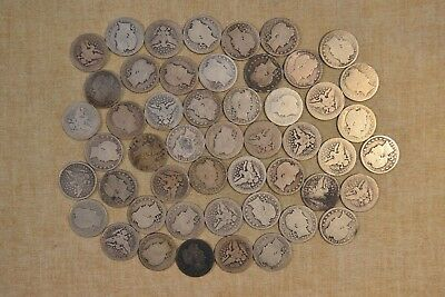 Lot Of 1898-O Barber Quarters - Circulated With Problems - 50 Coins
