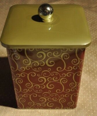 Vintage Covered Canister Candy Cookie Tea Tin square Red and Gold