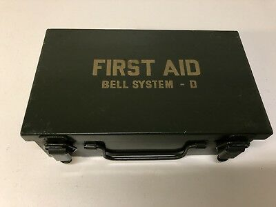 Vintage Green Bell System D Telephone First Aid Kit Latched Box Empty Nice #2
