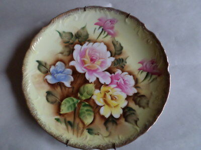 Vintage Wall Plate Collectible Decorative Hanging Art Decor Floral Portrait Dish
