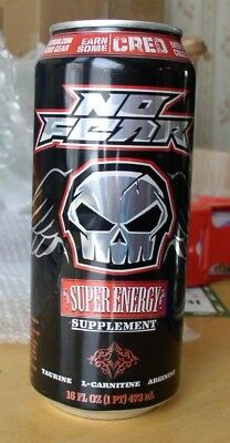 "No Fear Super Energy Drink 16 oz.(empty) ""Earn Some Cred"""