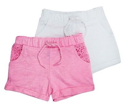 2 pack Girls SHORTS toddler summer beach twin pack PINK & WHITE