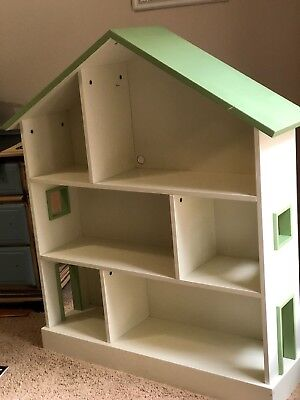 Green And White Pottery Barn Kids Dollhouse Bookcase Bookshelf