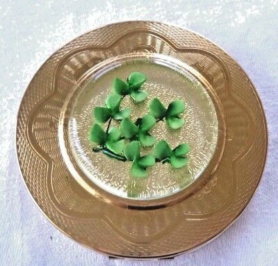 Vintage Compact Shamrocks in Lucite on Cover Signed with a Crown