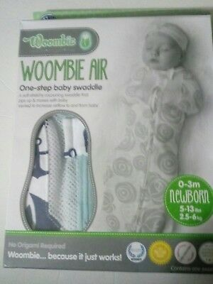 Woombie Air Baby Swaddle Anchor & Sailboat Newborn Baby 0-3m Soft Stretchy NIB