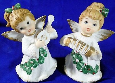 Vintage HOMCO 5252 Christmas Angels With Musical Instruments Bisque Porcelain