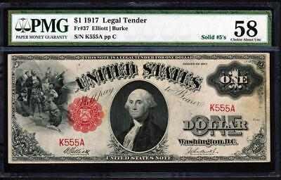 """Fr.37 1917 $1 LEGAL TENDER """"SOLID #5's"""" K555A + PMG CHOICE ABOUT UNCIRCULATED 58"""