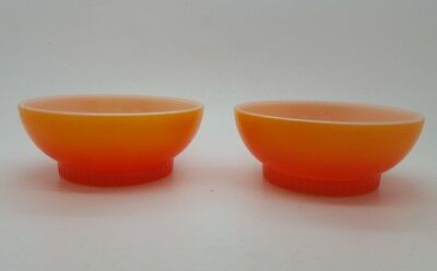 Matching Pair of Vintage Fire King Glass Orange Colored Cereal Soup Bowls
