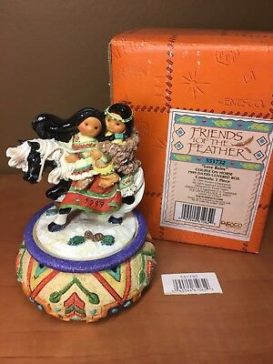 "Enesco Friends of the Feather ""Love Reins"" Couple on Horse 1999 Covered Box New"