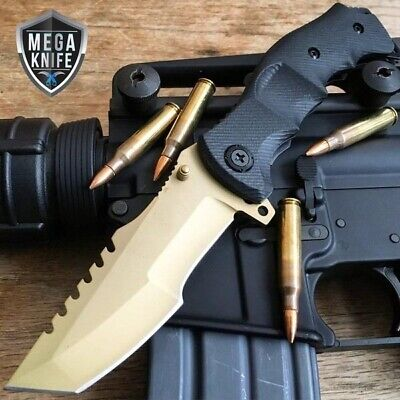 "9"" M-Tech Gold G10 Spring Assisted Open Folding Pocket Knife Tactical Combat NEW"