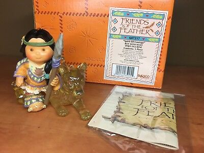 "Enesco Friends Of the Feather ""Spirit Of Courage"" Boy with Wolf Spirit Figurine"