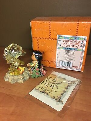 "Enesco Friends Of the Feather ""Spirit Of Wisdom"" Boy with Bear Spirit Figurine"