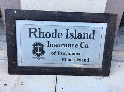 Antique Rhode Island Insurance Co. Wood Framed Tin Advertising Sign Original