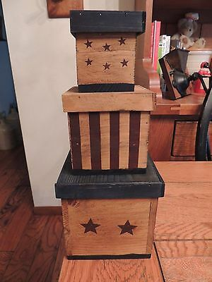 Boyds Wood Nesting Stars & Stripes Boxes Handmade