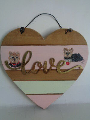 """HAND PAINTED ART~PAIR Yorkshire Terriers YORKIE Dog """"LOVE"""" WOOD HEART Wall Decor"""